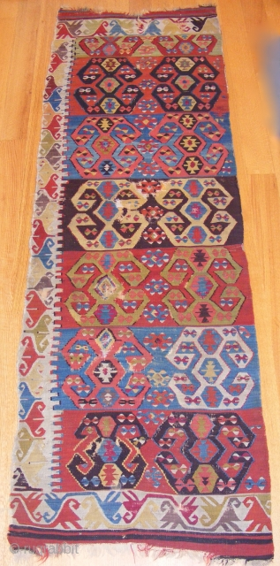Central Anatolian Kilim, Konya region, mid 19th c., 3' 2'' x 9' 8''.  Classic hooked motif, very collectible.