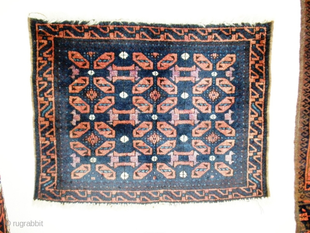 Antique Baluch Bag front Full pile and silky shiny wool.