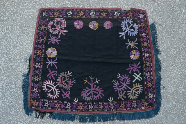 Kirgiz hand Embroidery saddle cover-(wall hanging)Russian block print backing.size:69x77 Cm