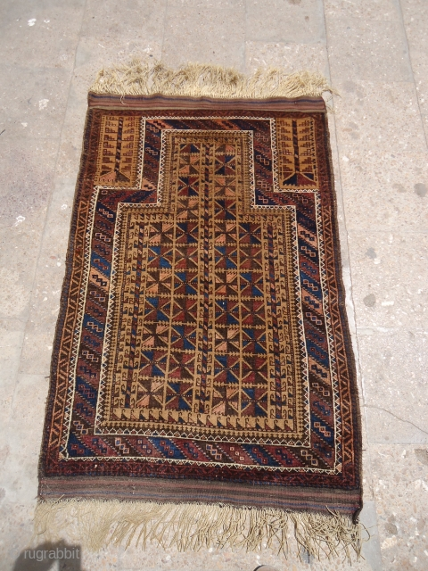 """Baluch Prayer Rug with both sides kilim endings very good condition without any work done.Good colors and design.Size 4'2""""*2'8"""".E.mail for more info and pics."""