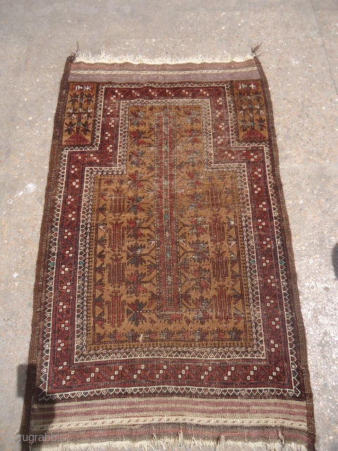 Early Dated Baluch Prayer Rug with both sides kilim endings and fine weave,all original without any repair or work done.Size