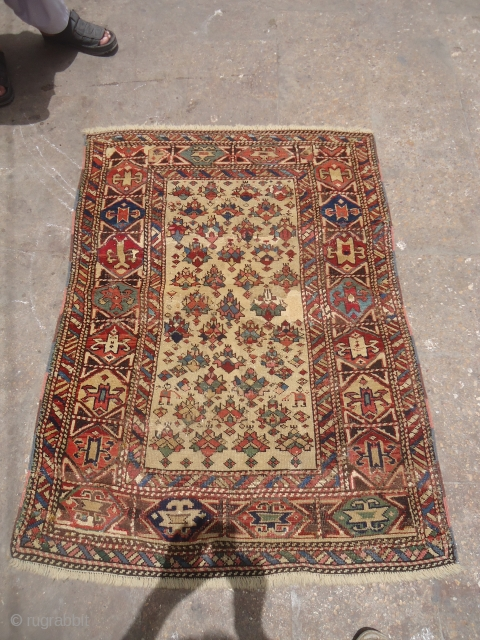 "Early Dagestan Rug with condition issues,good colors and design.Size 4'2""*3ft.E.mail for more info and pics."