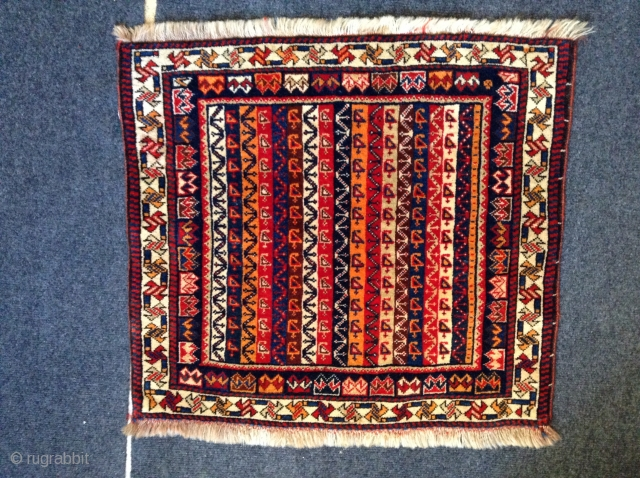 """This is a qashqi bag, 1st quarter 20th century. It is 2' x 2'11"""", full pile. Sold, Thank you"""