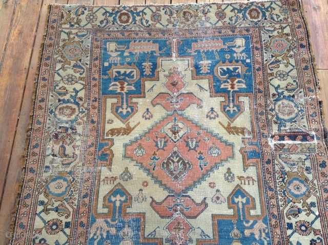 "Bakshaish, North Persia, 19th century, 56"" x 66"", with wear, tears, holes; front and back pictured, flexible. Price $750.00 or best offer."