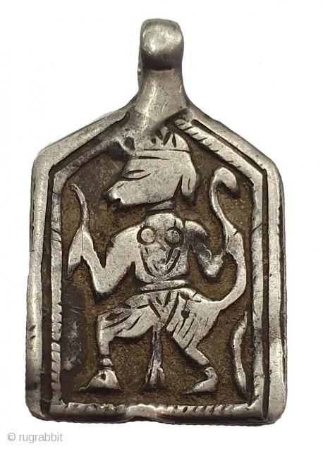 Tribal Indian Silver Pendant of Hanuman, From Kutch Gujarat India.India.C.1900 (20200109_151204).
