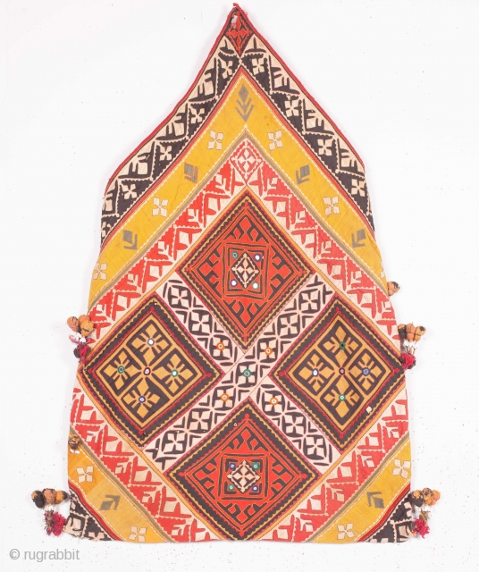 Dowry Bag (cotton) from Sindh Region of undivided India. India.Applique cut-outs with mirrors and the tassels.C.1900.Its size is 58cmX88cm. Rare Kind of Bag(IMG_5151).
