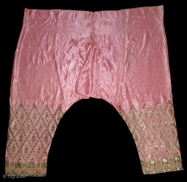 Ceremonial Woman's Trouser(Ejar)From Gujarat India.C.1900.Zari Embroidery on Gajji-Silk,This were traditionally used mainly by Vohra-Muslim family of Gujarat India(DSC02560 New).