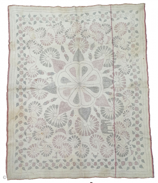 Kantha Finest Quilted and embroidered cotton Kantha Probably From Faridpur District,East Bengal(Bangladesh)region. India.C.1900.Its size is 118cmX145cm. Showing the folk art of bengal. Very fine quality quilted and embroidery(20191118_161638).