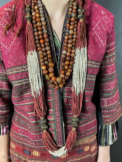 Chin tribal carnelian necklace and a Kondh tribe antique necklace.