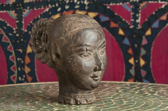 Portrait female wood head, beautiful expression originally from a parade float 16th c South India.