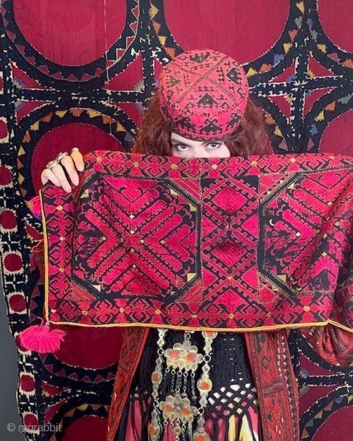 Grouping of Swat pillows , Uzbek suzani, vintage embroidery coat and Turkman necklace . Pls enquire got pricing .