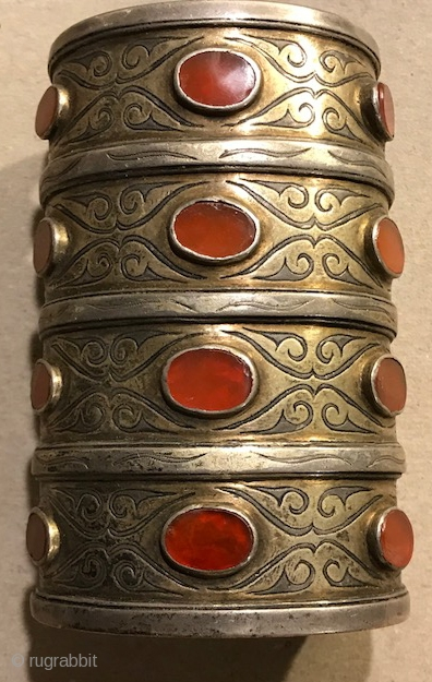 Tekke cuff with carnelian four lines , nice old one silver with  traces of gilding
