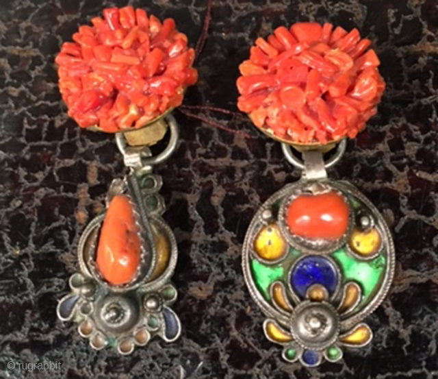 Designed earring with Italian coral and Algerian coral and enamel components.