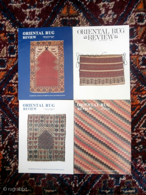 """·  A little bit of fascinating Oriental Rug history -- 28 copies of """"Oriental Rug Review"""" from the years 1987 to 1993 available as one lot at 5 euros each, total 140 euros. Shipping guidlines  ..."""