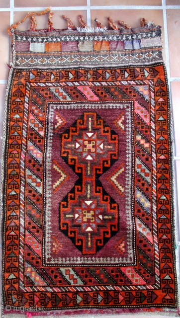 """BALUCH/BELOUCH tent bag, called a """"Ballisht"""" and woven by Taimani people in north west Afghanistan. This group and their weavings is well described b R. D. Parsons in is authoratative book """"The  ..."""