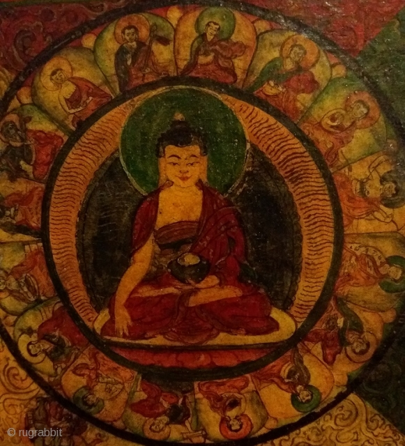 Old Tibetan painting removed from the wooden panel of a damaged cabinet, distemper on cloth, circa 32 by 32 cm: a mandala of the Medicine Buddha?