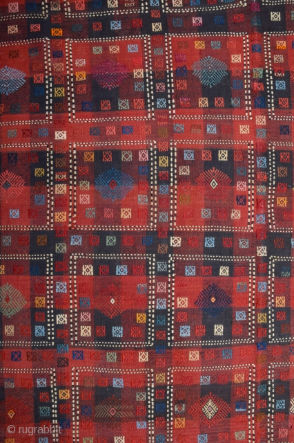 Late 19th Century Caucasian Sofreh It's in good condition and has great colors ıt has a lot of cecim in side of this beauty.Size 165 x 271 cm