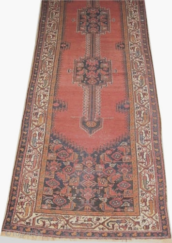 """Farahan Persian circa 1900 antique, Size: 411 x 109 (cm) 13' 6"""" x 3' 7""""  carpet ID: K-4081 The pile is slightly short, the surrounded large border is ivory, the center three  ..."""