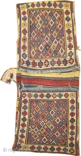 """Caucasian Moghan saddle bag, circa 1885 antique, collector's item. Size: 114 x 44 (cm) 3' 9"""" x 1' 5""""  carpet ID: A-604 Perfect condition, hand spun wool woven with reverse technique of  ..."""