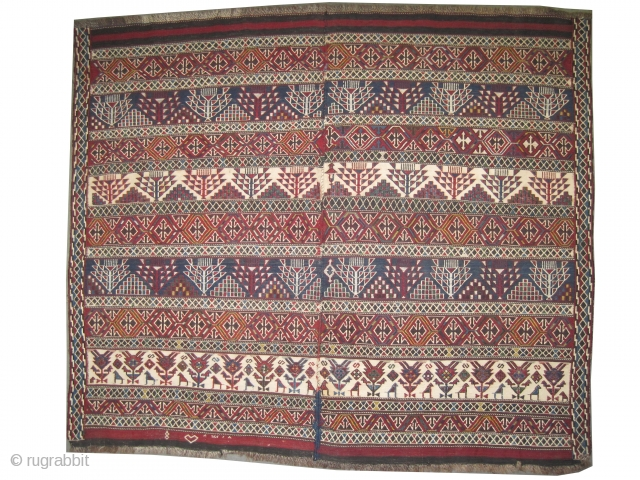 """Vernneh Caucasian woven circa in 1895 antique, collector's item, 135 x 120 (cm) 4' 5"""" x 3' 11""""  carpet ID: A-327 The ivory is cotton and the rest is hand spun lamb  ..."""