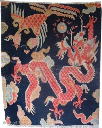 "Tibetan knotted circa in 1925 semi antique, 76 x 60 (cm) 2' 6"" x 2'  carpet ID: K-4888