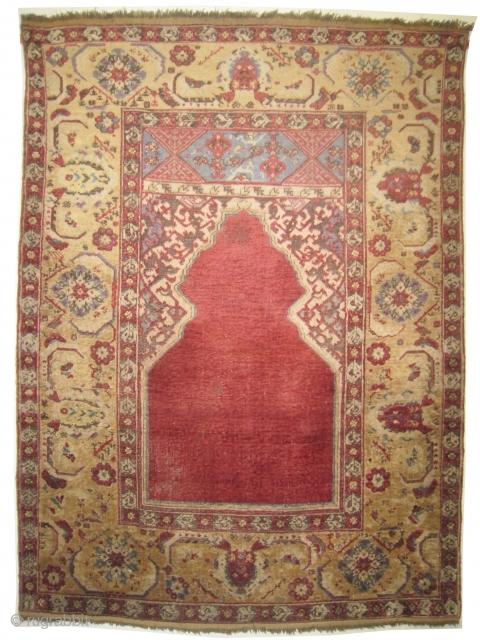 "Transylvanian / Siebengurg prayer rug, knotted circa in 1800 antique, collector's item. 153 x 115 (cm) 5'  x 3' 9""  carpet ID: K-4053 Authentic Transylvanian ""Siebenburg"" rug with prayer design, the  ..."