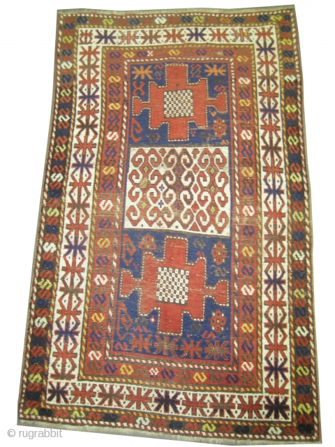 "Karatchoph Caucasian knotted circa in 1860 antique, collector's item.  210 x 125 (cm) 6' 11"" x 4' 1""  carpet ID: K-5475