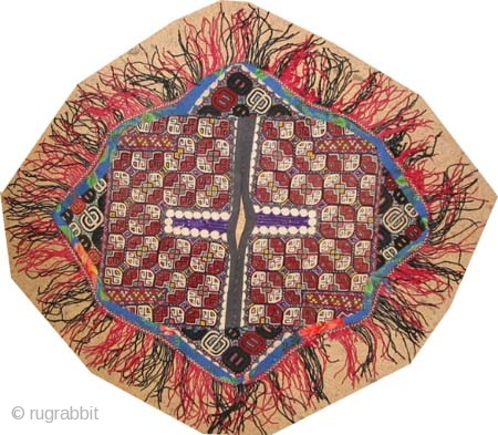 """Uzbek embroidery, woven circa in 1900 antique,  53 x 46 (cm) 1' 9"""" x 1' 6""""  carpet ID: A-1180 Mixed with silk and wool, Boukhara design, in perfect condition."""
