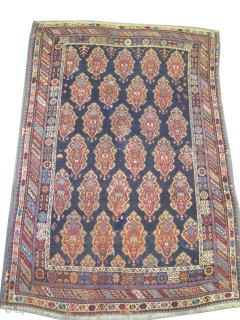 """Afshar Persian, knotted circa in 1890 antique, collector's item, 200 x 135 (cm) 6' 7"""" x 4' 5""""  carept ID: K-5577 The knots, the warp and the weft threads are 100%  ..."""