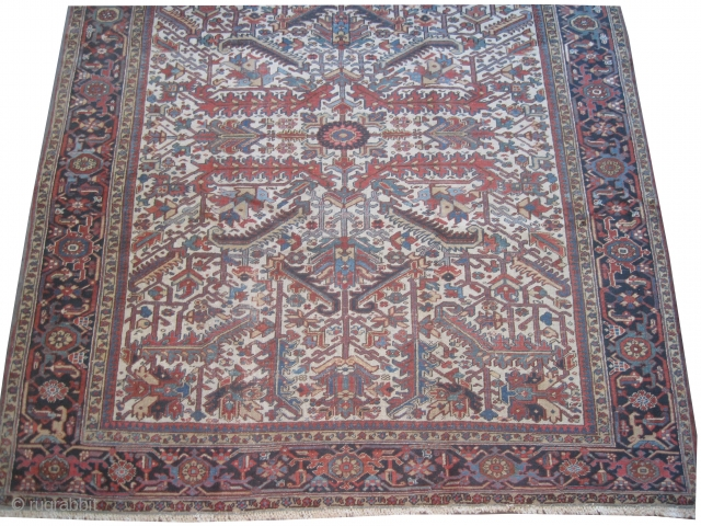 """Heriz Persian, knotted circa in 1918 antique, antique, collector's item,  300 x 260 (cm) 9' 10"""" x 8' 6""""  carpet ID: P-3931 The knots are hand spun wool, the black knots  ..."""