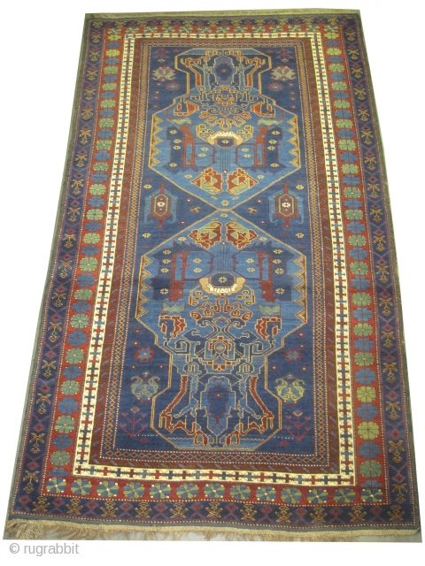 """Sejshour-Kouba Caucasian, knotted circa in 1912, antique, collector's item,  220 x 124 (cm) 7' 3"""" x 4' 1""""  carept ID: H-225 The brown color is oxidized. The knots, the warp  ..."""