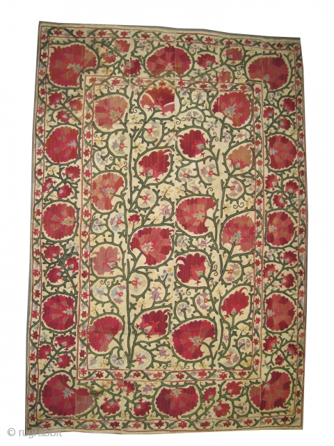 """Suzani Uzbek Dzhizak , antique. Size: 233 x 156 (cm) 7' 8"""" x 5' 1"""" carpet ID: A-1100  Embroidered with silk on hand woven linen. Vegetable dyes, perfect condition. Rare example,  ..."""