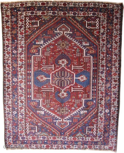 """Shiraz Persian circa 1905 antique. Collector's item, Size: 209 x 166 (cm) 6' 10"""" x 5' 5""""  carpet ID: K-4215  vegetable dyes, the black color is oxidized, the knots are hand  ..."""