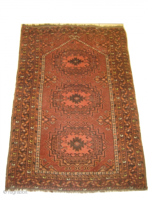 Ersari prayer, knotted circa in 1905 antique. 110 x 76 cm , carpet ID: LUB-6 The black color is oxidized, the background has short pile, in good condition and in its original shape.