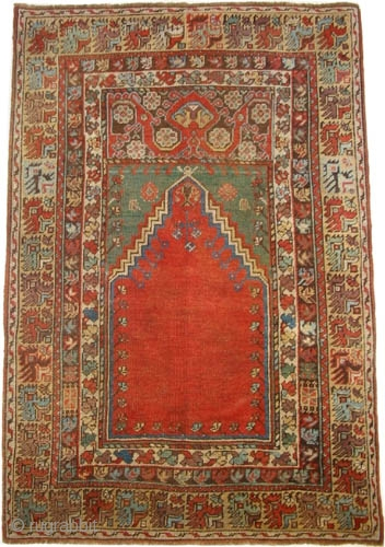 "Mudjur prayer, Anatolian, circa 1850, antique. Collector's item. Size: 133 x 98 (cm) 4' 4"" x 3' 3""  carpet ID: K=1314a