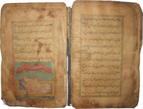 "Islamic love story book, circa 17/18 century. Antique, collector's item, museum standard,Size: 23 x 15 (cm) 9"" x 6"" Carpet ID: AB-1 