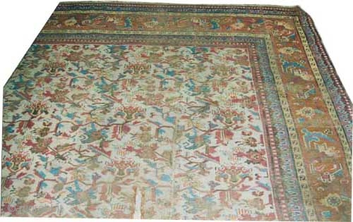 """Indian carpet knotted circa in 1905, antique, 398 x 300 (cm) 13' 1"""" x 9' 10""""  carpet ID: P-4470 The knots are hand spun wool, most of the black knots are oxidized,  ..."""