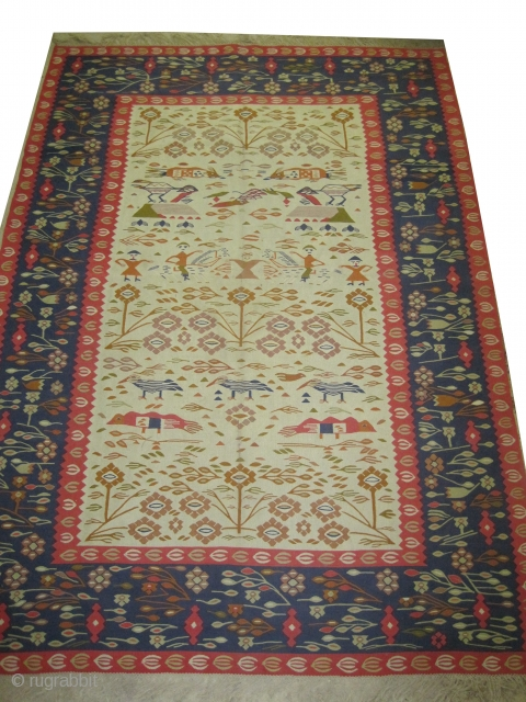 """Balkan kelim European, from Art Deco period, 291 x 205 (cm) 9' 6"""" x 6' 9""""  carpet ID: A-810 In perfect condition, very finely woven, unique example."""