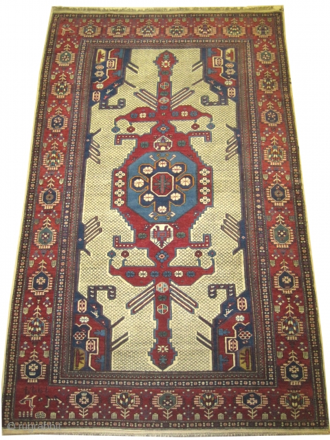 """Shirvan Caucasian real old and dated 1927. Size: 220 x 138 (cm) 7' 3"""" x 4' 6""""  carpet ID: H-434  High pile, perfect condition, very fine knotted, the black color is  ..."""
