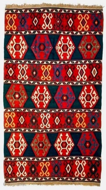 Exceptional Kuba kilim from the collection of David Black and Clive Loveless, in excellent condition. Strong graphics and great saturated natural dyes, very minor breaks at a few slits and a tight  ...