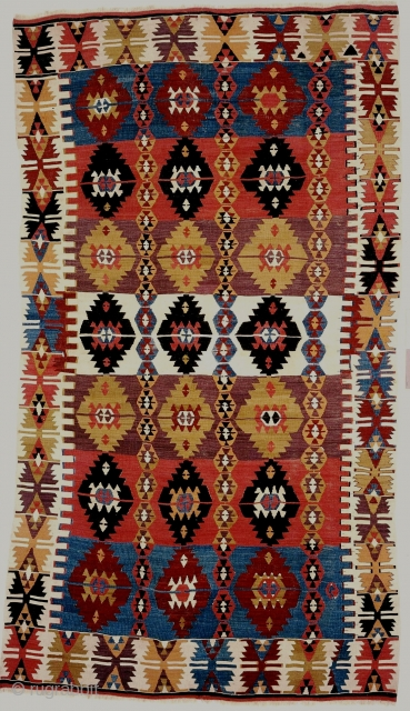 A small and beautiful Central Anatolian kilim, 54x88 inches (137x224cm); first half 19c. Another example of this design group was sold at Lefevre & Partners Auction, London, 23 April 1982, lot 2,  ...