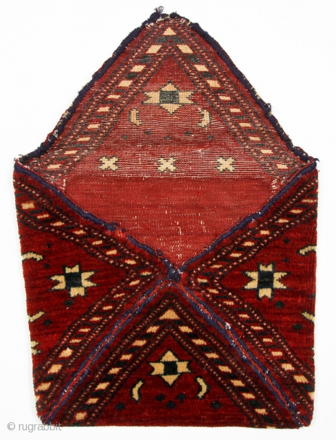 Exquisite small pile bokche or chanteh, Central Asia, c 1900, finely woven with symmetric knot. It has a supple handle, 10 x 10 inches, (26 x 26 cms). Excellent condition with some  ...