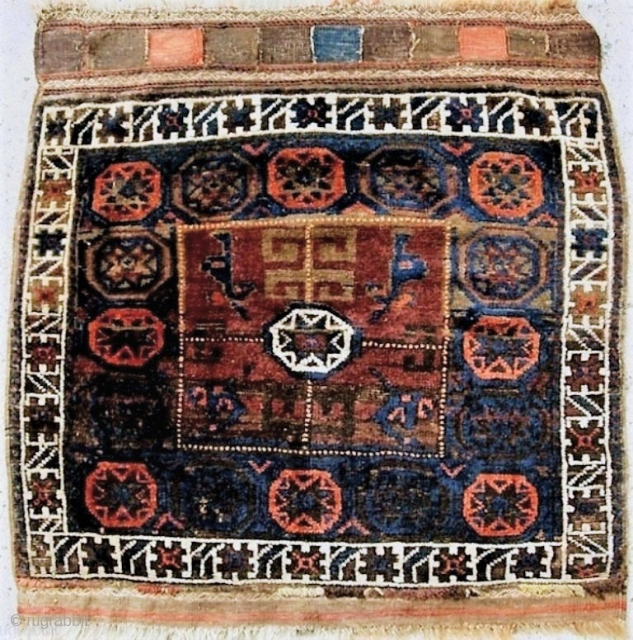 Nice nomadic large Baluch bag with original back and deep lustrous, pelt-like pile. c 1900. No repairs, natural dyes. 34 x 35 inches overall. 500 USD checks only on US banks.