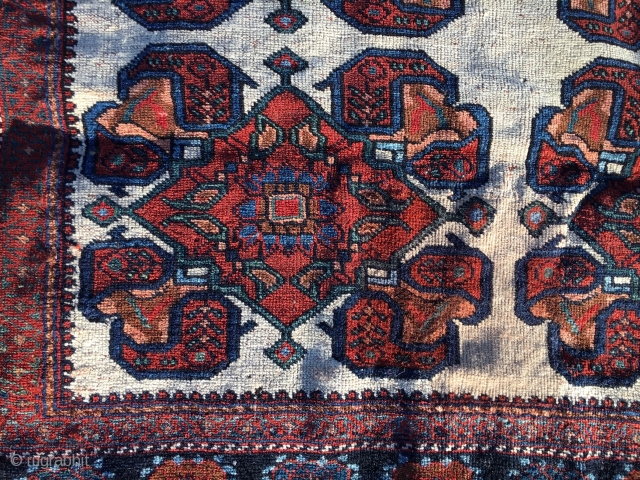 Antique white-groud Afshar, 3.5' X 4.5' in overall great condition. All natural dyes, electric blue. Generally low pile, with a coffee stain? No holes, smells or dry areas. Price: Very affordable! SOLD!  ...