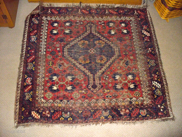 Afshari / Khamseh bagface /rug. OLD. Great graphics and saturated dyes, all natural! Worn.