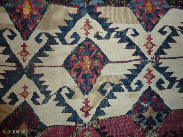 Roughly a quarter of a south-east anatolian kilim, mid 19th. cent.