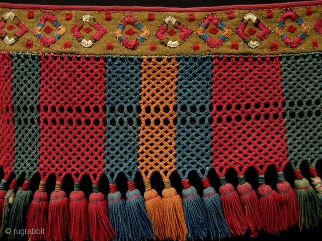 Kungrat Animal Decoration,Uzbekistan,19th century,20x80cm,silk embroidery on wool woven strap with silk tassels,all natural colors.Beautiful,Fine,Rare!