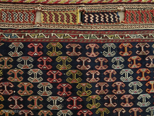 Unusually Big and Rare Qashgai Brocaded Bagface, 75x80cm. Finely Woven and Elegantly  Beautiful!