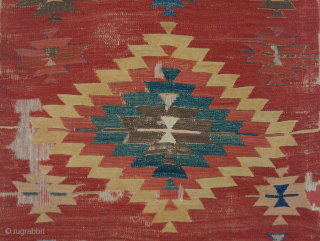 Central Anatolian Kilim, Karapinar, ca. 1800, 110x295cm, damaged but complete, professionally mounted on red linen, unusually spacious and rustic interpretation of well known design...Great Thing! https://www.mbtextileart.com/