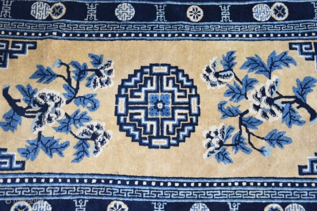 1 3 8  x  6 8  cm is the size of this antique CHINESE CARPET. All original, not restored. FULL pile for this chinese rug. Perfect condition. Shiny, luscious silky wool for  ...